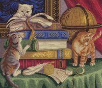 """Вышивка крестом """"Котята с книгами"""""""