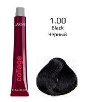 """Крем-краска для волос """"Collage Creme Hair Color"""" (тон: 1/00, черный)"""