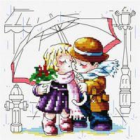 """Вышивка крестом """"Романтика под зонтиком"""""""