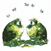 """Вышивка крестом """"Влюбленные лягушки"""""""