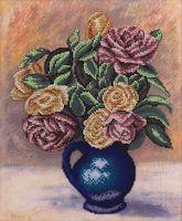 """Вышивка крестом """"Розы в синей вазе"""""""