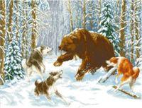 """Канва с нанесенным рисунком """"Медведь"""""""