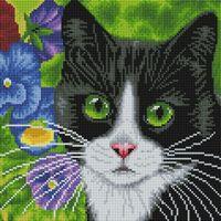 """Алмазная вышивка-мозаика """"Кот в анютиных глазках"""" (300х300 мм)"""
