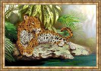 """Вышивка бисером """"Леопард"""" (345х460 мм)"""