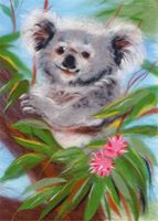 """Картина из шерсти """"Добродушная коала"""""""