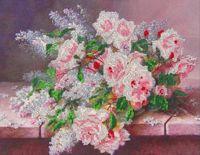 """Вышивка бисером """"Цветы на столе"""""""