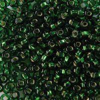 Бисер прозрачный с серебристым центром №57120 (зеленый; 10/0)