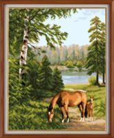 "Вышивка крестом ""Кони в лесу"" (250х310 мм)"