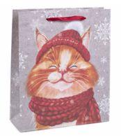 "Пакет бумажный подарочный ""Снежный кот"" (18х23х8 см)"