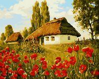 """Картина по номерам """"Маки в деревне"""" (300х400 мм)"""