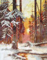 """Вышивка крестом """"Закат в снежном лесу"""" (240x310 мм)"""