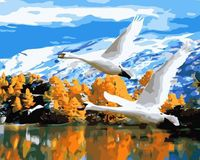 "Картина по номерам ""Перелетные лебеди"" (400х500 мм)"