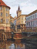"""Вышивка крестом """"Лавочный мост. Старый Кёнигсберг"""" (270х350 мм)"""