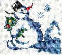 """Вышивка крестом """"Снеговик с елкой"""""""