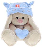 """Мягкая игрушка """"Зайка Ми малыш в голубой шапке с сердечком"""" (15 см)"""