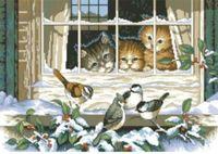 """Канва с нанесенным рисунком """"Котята за окном"""""""