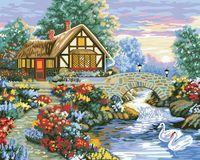 """Картина по номерам """"Домик с лебедями"""" (400x500 мм; арт. MG197)"""
