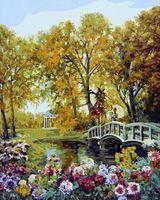 """Картина по номерам """"Осенний парк с цветами"""" (400х500 мм)"""
