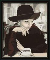 "Картина по номерам ""Девушка в кафе"" (400х500 мм)"