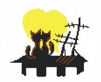 "Вышивка крестом ""Пара на крыше"""