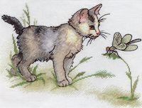 """Вышивка крестом """"Котенок со стрекозой"""""""