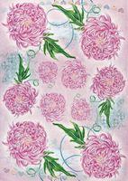 """Бумага для декупажа рисовая """"Розовые хризантемы"""" (290х210 мм)"""