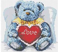 "Алмазная вышивка-мозаика ""Медвежонок с сердцем"" (300х300 мм)"
