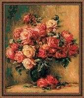 """Вышивка крестом """"О.Ренуар. Букет роз"""""""