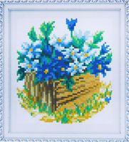 """Алмазная вышивка-мозаика """"Синие цветы"""" (150х170 мм)"""