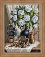 """Алмазная вышивка-мозаика """"Белые розы и черный кофе"""" (300х400 мм)"""