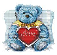"""Вышивка крестом """"Медвежонок с сердцем"""" (165x180 мм)"""
