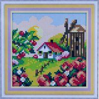 """Алмазная вышивка-мозаика """"Деревенская мельница. Лето"""" (150х150 мм)"""
