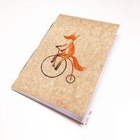"""Блокнот крафт """"Лиса на велосипеде"""" А7 (794)"""