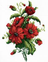 """Вышивка крестом """"Красные цветочки"""" (200x260 мм)"""