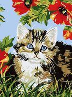"Картина по номерам ""Котёнок в цветах"" (400х300 мм)"