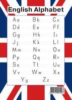 English Alphabet. Образцы письменных букв (в цвете флага)