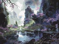 "Картина по номерам ""Пейзаж с сакурой"" (400х500 мм)"
