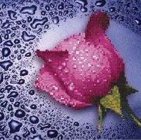 """Алмазная вышивка-мозаика """"Розовая роза"""" (250х250 мм)"""