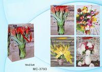 """Пакет бумажный подарочный """"Цветы"""" (в ассортименте; 18x23x8 см; арт. МС-3793)"""