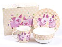 """Набор для завтрака """"Свинки"""" (3 предмета)"""