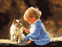"""Картина по номерам """"Малыш с котом"""" (400х500 мм)"""