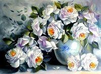 "Алмазная вышивка-мозаика ""Белые розы"" (450х600 мм)"