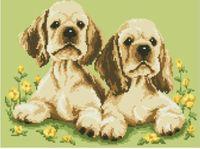 """Канва с нанесенным рисунком """"Два щенка"""" (арт. А-1252)"""
