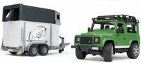 """Модель машины """"Внедорожник Land Rover Defender с прицепом-коневозкой"""" (масштаб: 1/16)"""