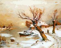 """Картина по номерам """"Деревня в снегу"""" (400x500 мм)"""