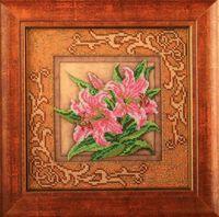 """Вышивка бисером """"Благоухающие лилии"""" (205х205 мм)"""