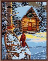 """Картина по номерам """"Красные кардиналы"""" (400х500 мм; цветной холст)"""