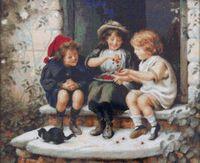 """Вышивка крестом """"Дети с вишней"""" (400х310 мм)"""