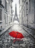 """Вышивка крестом """"В Париже дождь"""""""