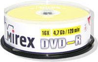 Диск DVD-R 4.7Gb 16x Mirex CakeBox 25